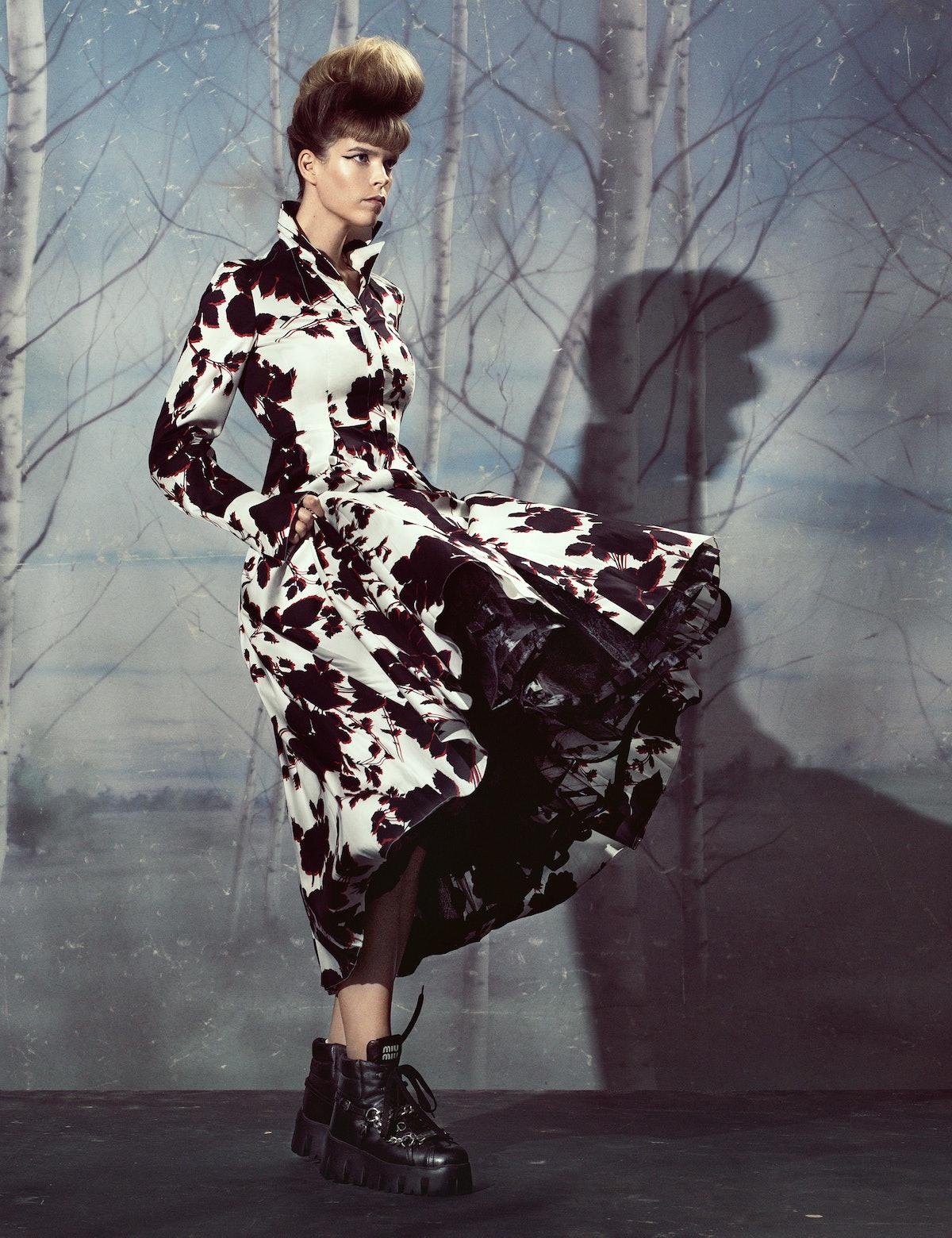 Meghan Collison wears an Erdem dress; Miu Miu boots; stylist's own crinoline.