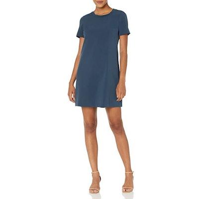 Lark & Ro Florence Short Sleeve Sweater Trim Dress