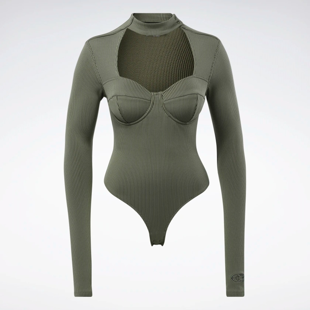 Cardi B's army green and black bodysuit.