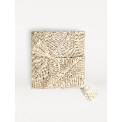 Cream Chunky Diamond Knit Throw