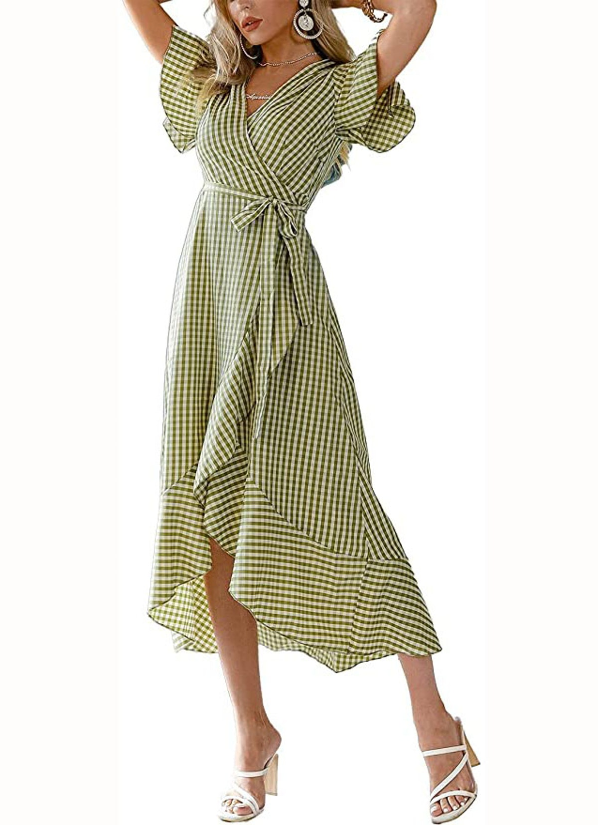 Miessial Summer Chiffon Ruffle Maxi Dress