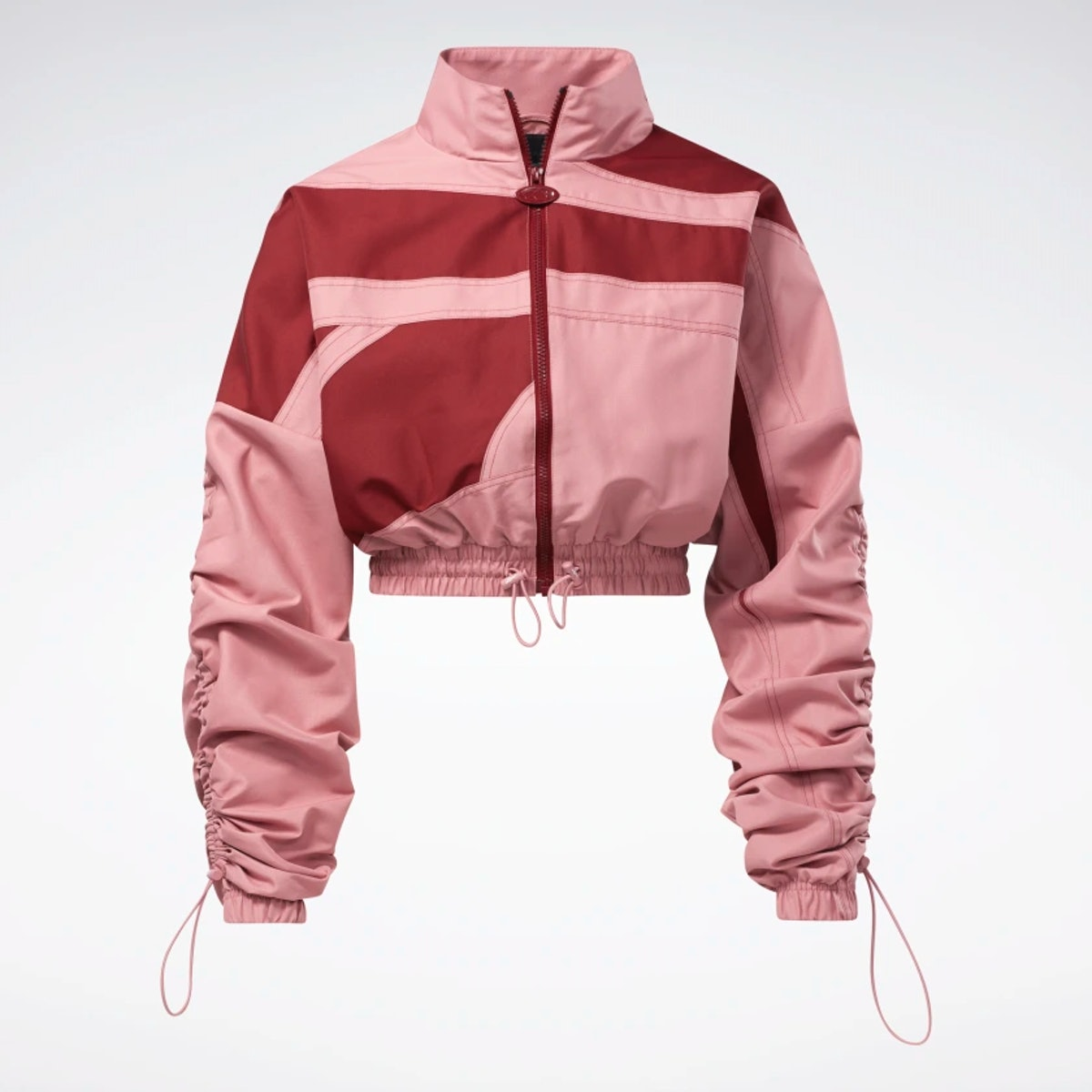 Cardi B's woven satin Reebok jacket.