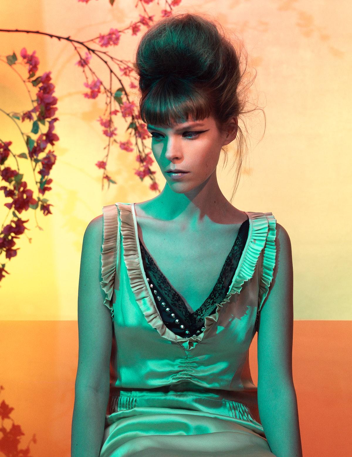 Meghan Collison wears Miu Miu dresses.