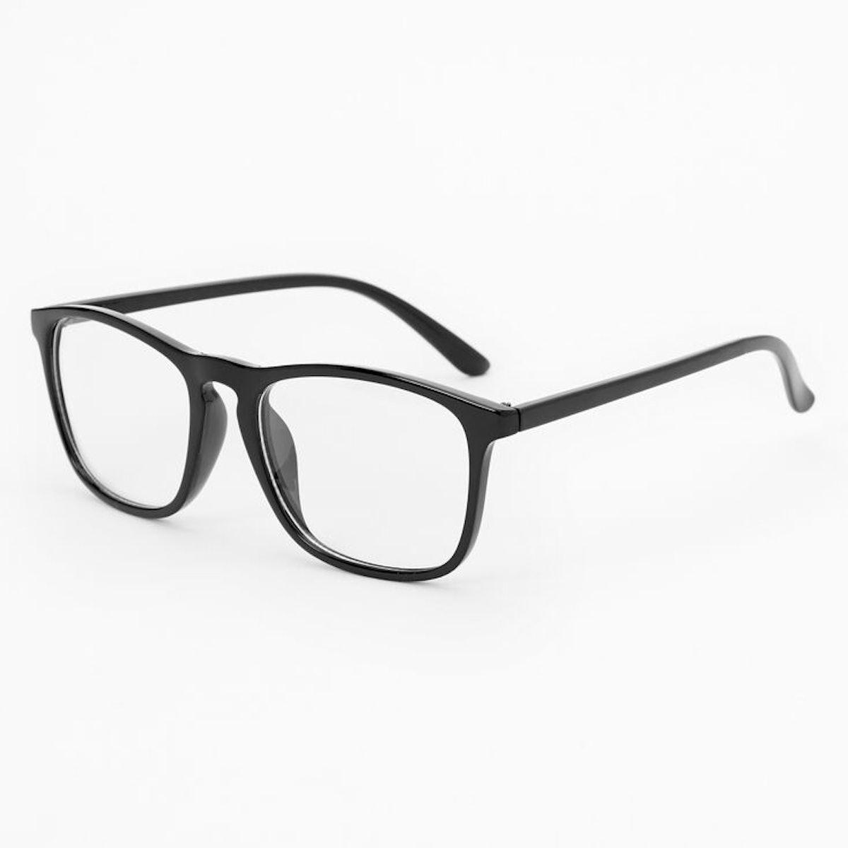 Solid Black Retro Clear Glass Frames