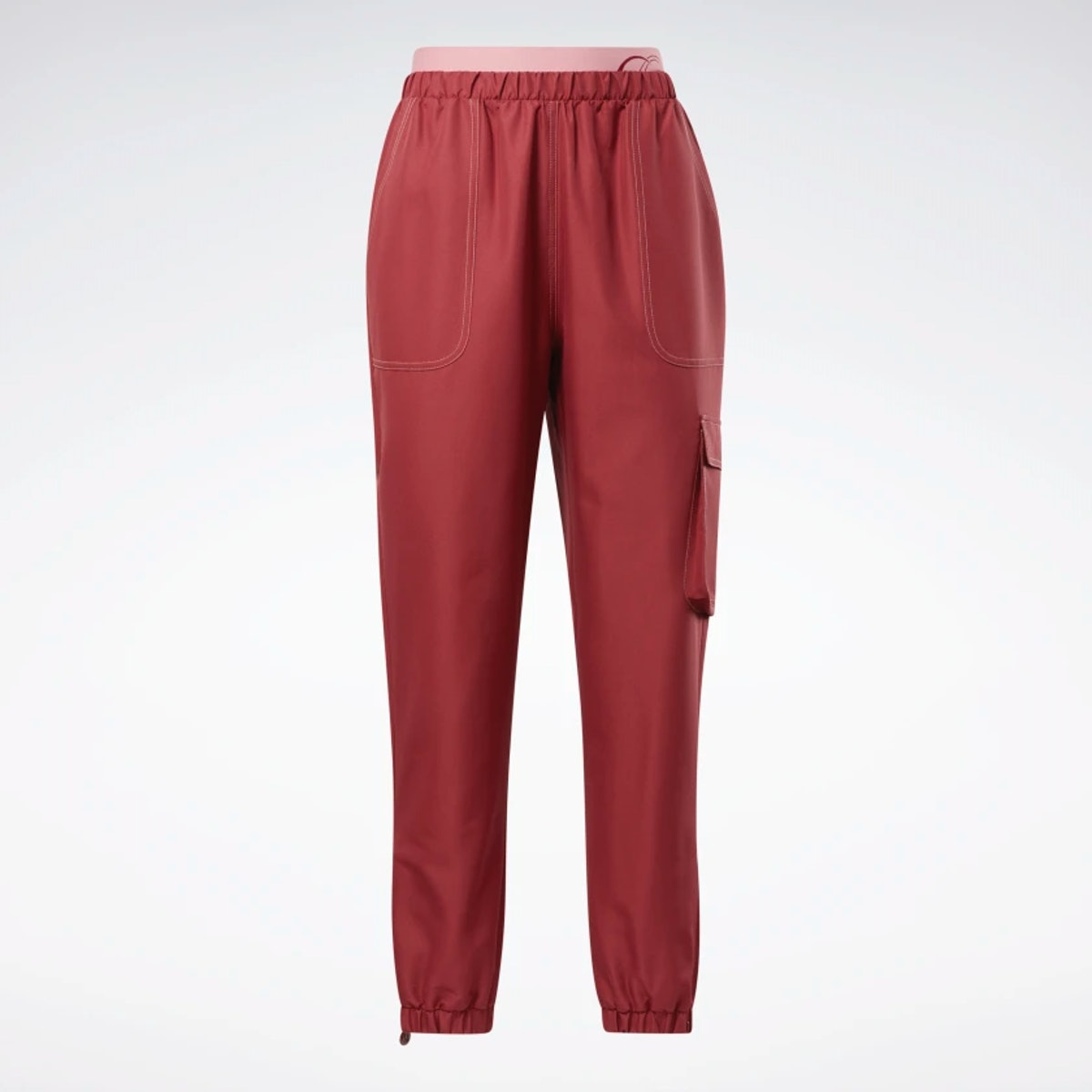 Cardi B's track pants in red and pink.