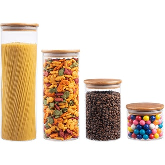 EatNeat Airtight Glass Kitchen Canisters with Bamboo Lids (Set of 4)