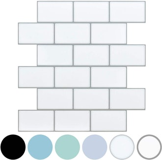 LONGKING White Subway Tile Peel-And-Stick Backsplash