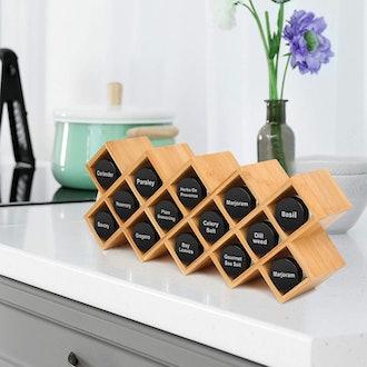 JIIKOOAI Criss-Cross Bamboo Countertop Spice Rack Organizer