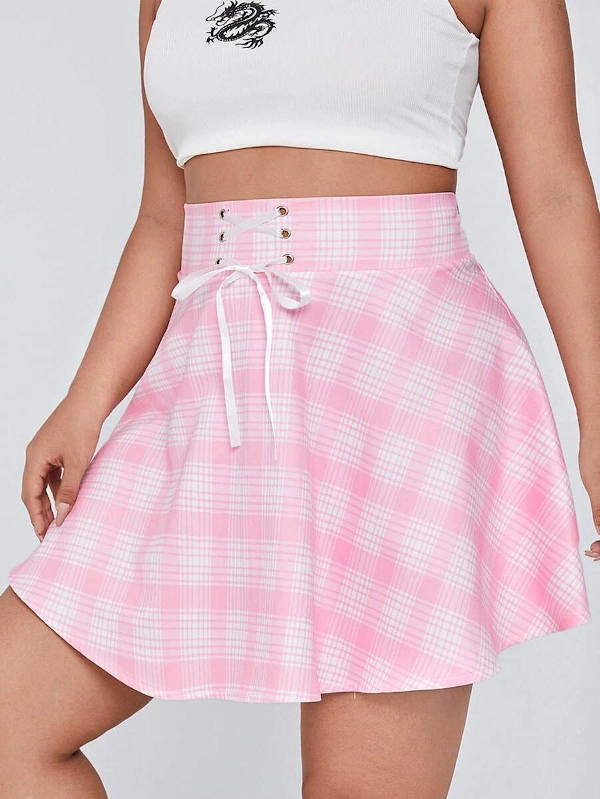 Plus Plaid Print Lace Up Front Zip Back Skirt