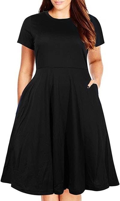 Nemidor Plus Size Fit and Flare Midi Dress