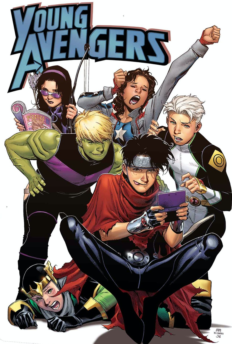 The Young Avengers appear on the cover of their eponymous Marvel comic book.