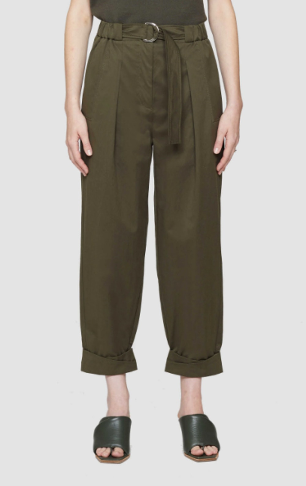 Belted Utility Pants with Rolled Cuff
