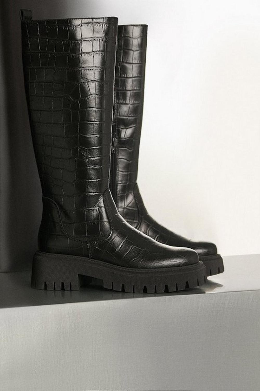 Knee High Croc Leather Flat Boot