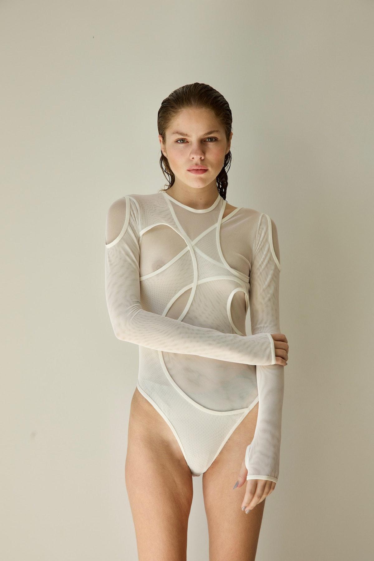 Model wears Clarissa Larrazabal's bodysuit.