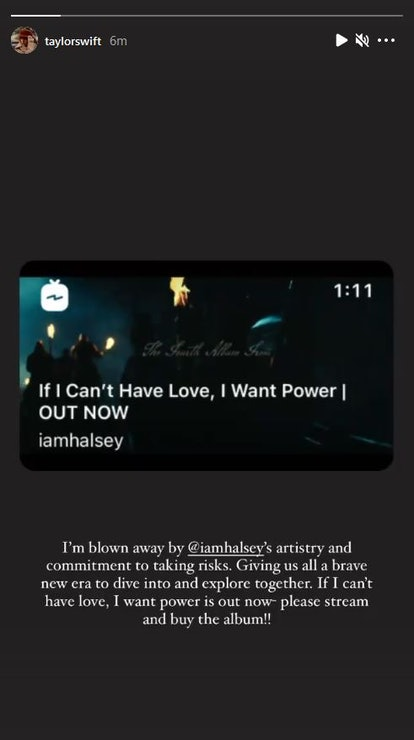 Taylor Swift supports Halsey in an Instagram story about her fellow artist's album 'If I Can't Have ...