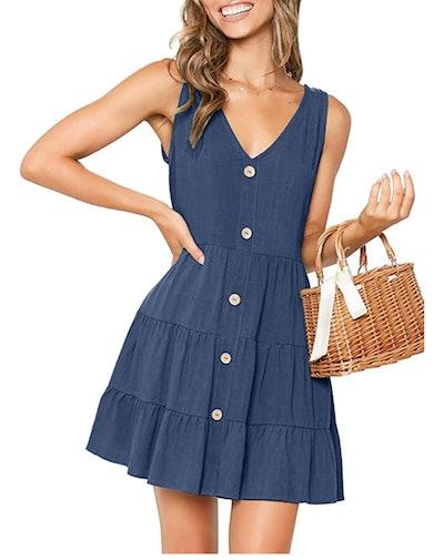 MITILLY  Sleeveless Button Down Swing Dress