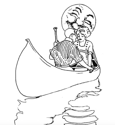 Illustration of a couple kissing in a canoe