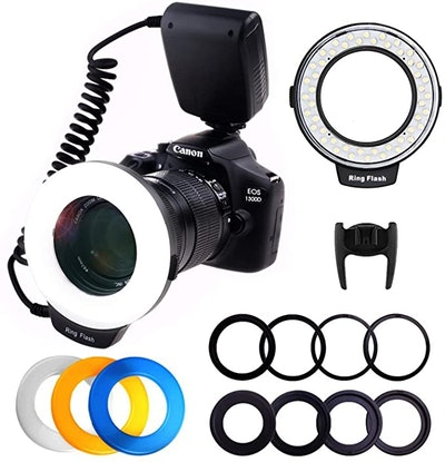 PLOTURE Flash Light with LCD Display Adapter Rings