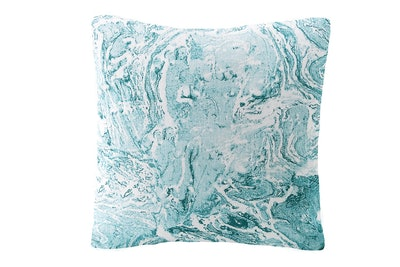 Turquoise Marbled Linen Pillow