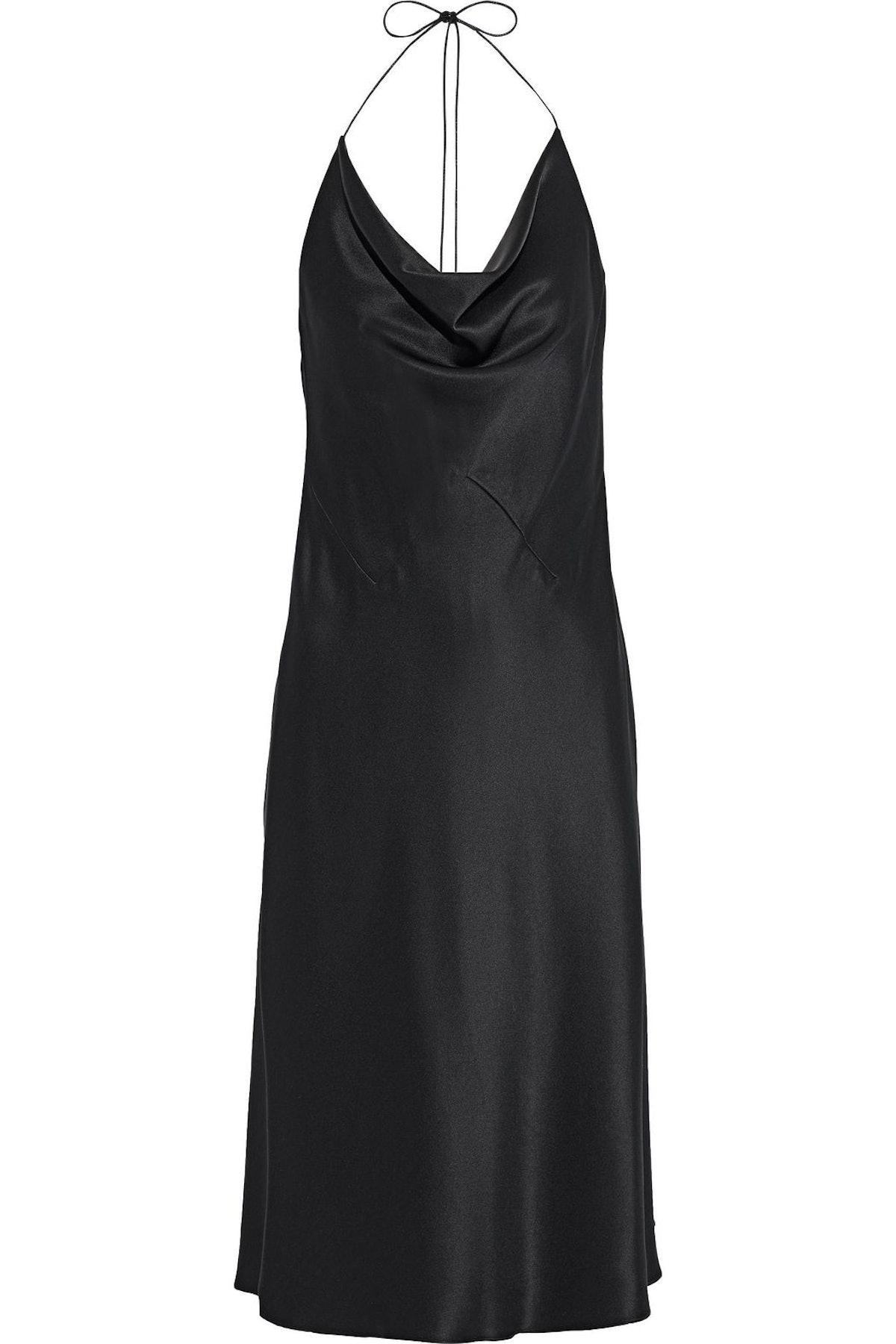 Cushnie Draped Silk-Satin Halterneck Slip Dress The Outnet Sale