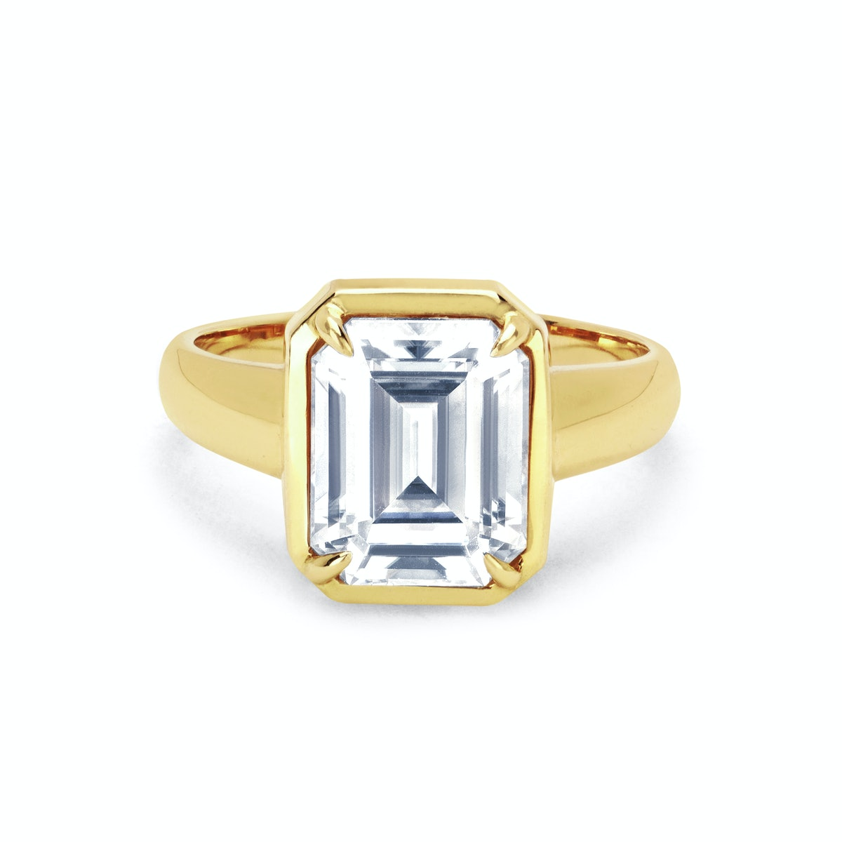 Emerald Cut Diamond Solitaire Setting with Tapered Cloud Fit Band from Logan Hollowell.