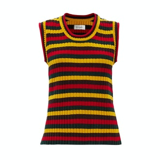 Wales Bonner Brixton Striped Ribbed-knit Cotton Sleeveless Top