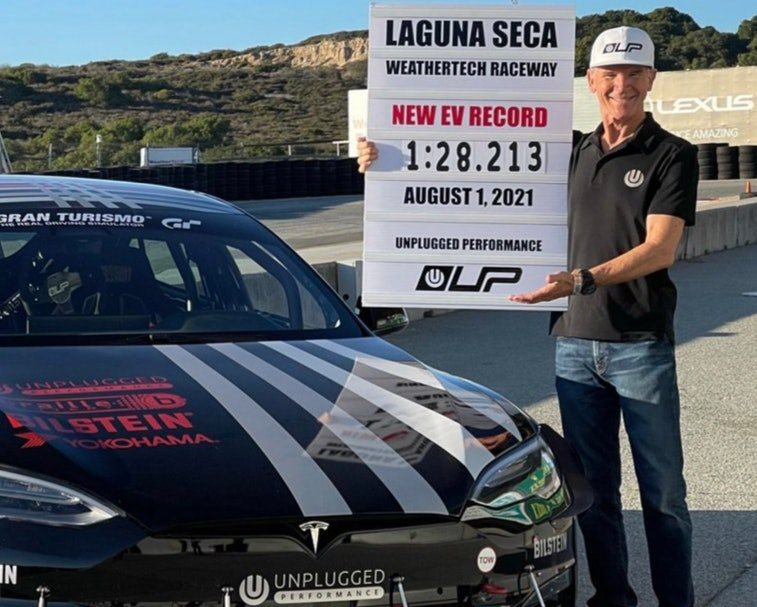 A modified Tesla Model S broke the lap record for electric vehicles at the Laguna Seca raceway.