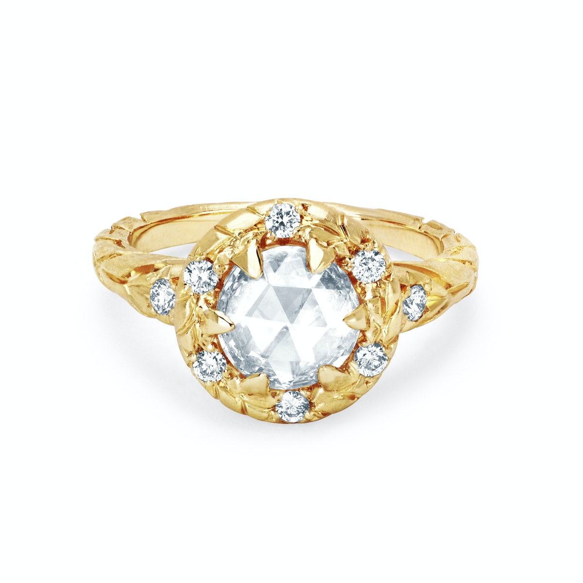 Wilderness Rose Cut Champagne Diamond Ring with Sprinkled Halo from Logan Hollowell.