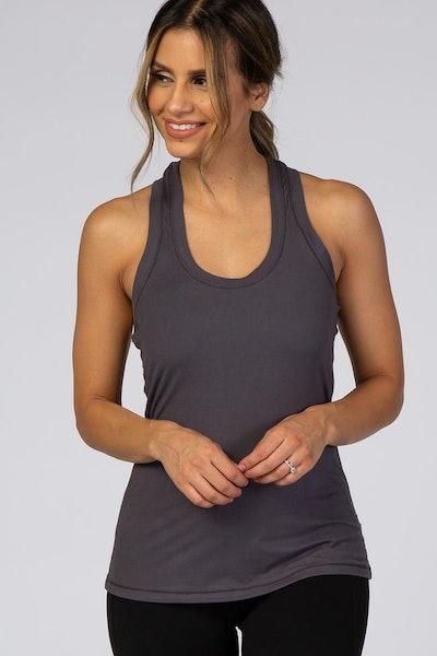 Woman modeling grey workout tank top