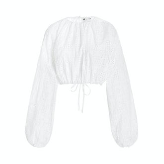 Matteau Cropped Broderie Anglaise Organic Cotton-poplin Top