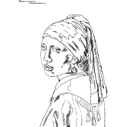 """""""Girl with the pearl earring"""" coloring page"""