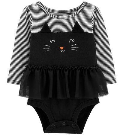 Image of a baby's onesie with a cat's ears, eyes and whiskers.