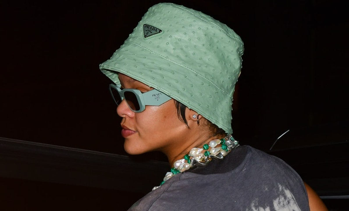 Rihanna wearing a Prada bucket hat