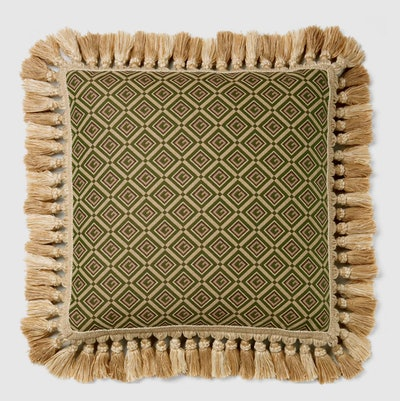 G Check Floral Cushion with Tassels