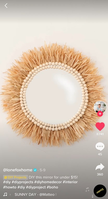 A DIY Bohemian mirror is the perfect dollar store decor hack on TikTok for your dorm room.