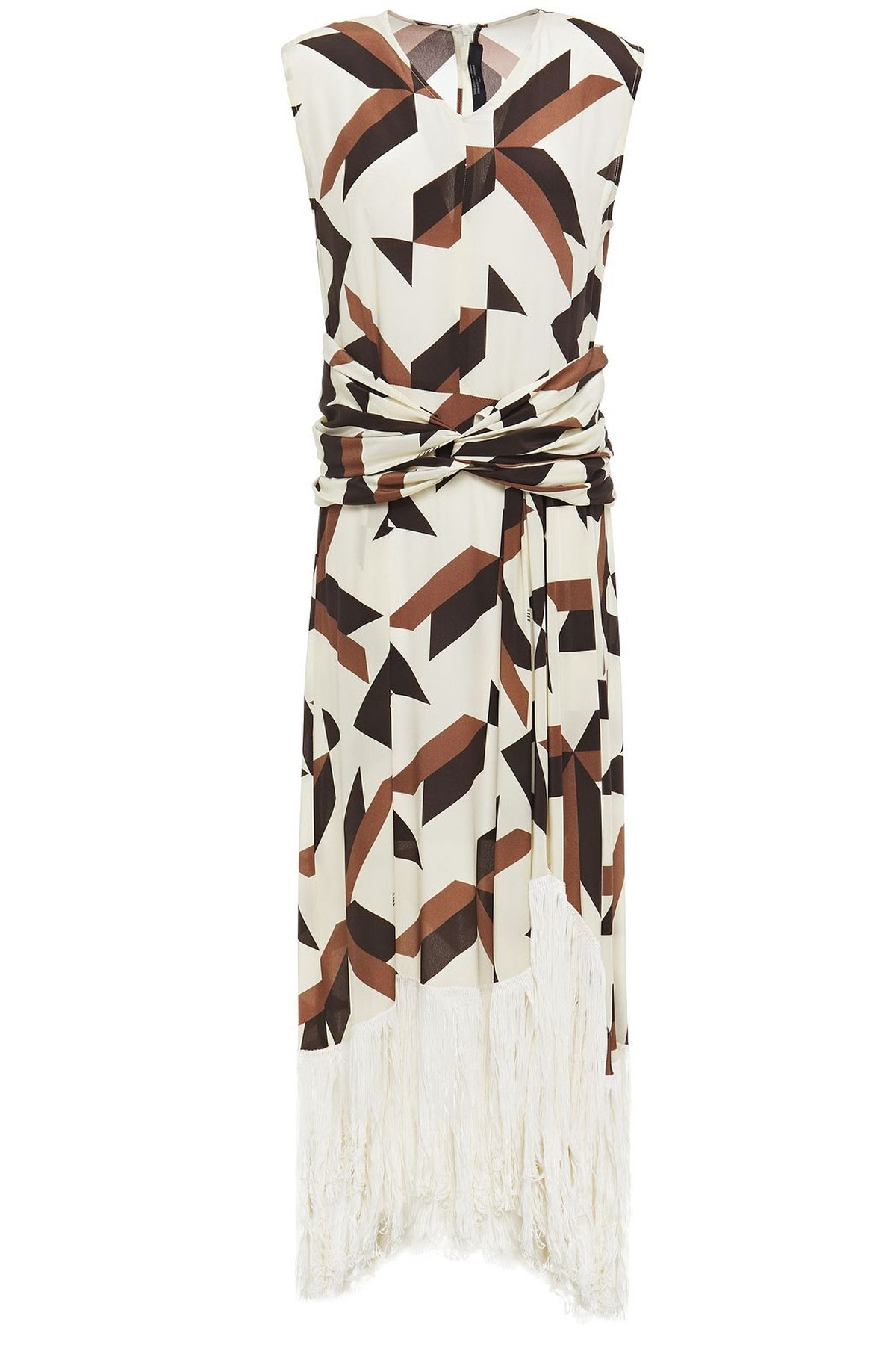 Rokh Twist-Front Fringed Printed Silk Maxi Dress The Outnet Sale