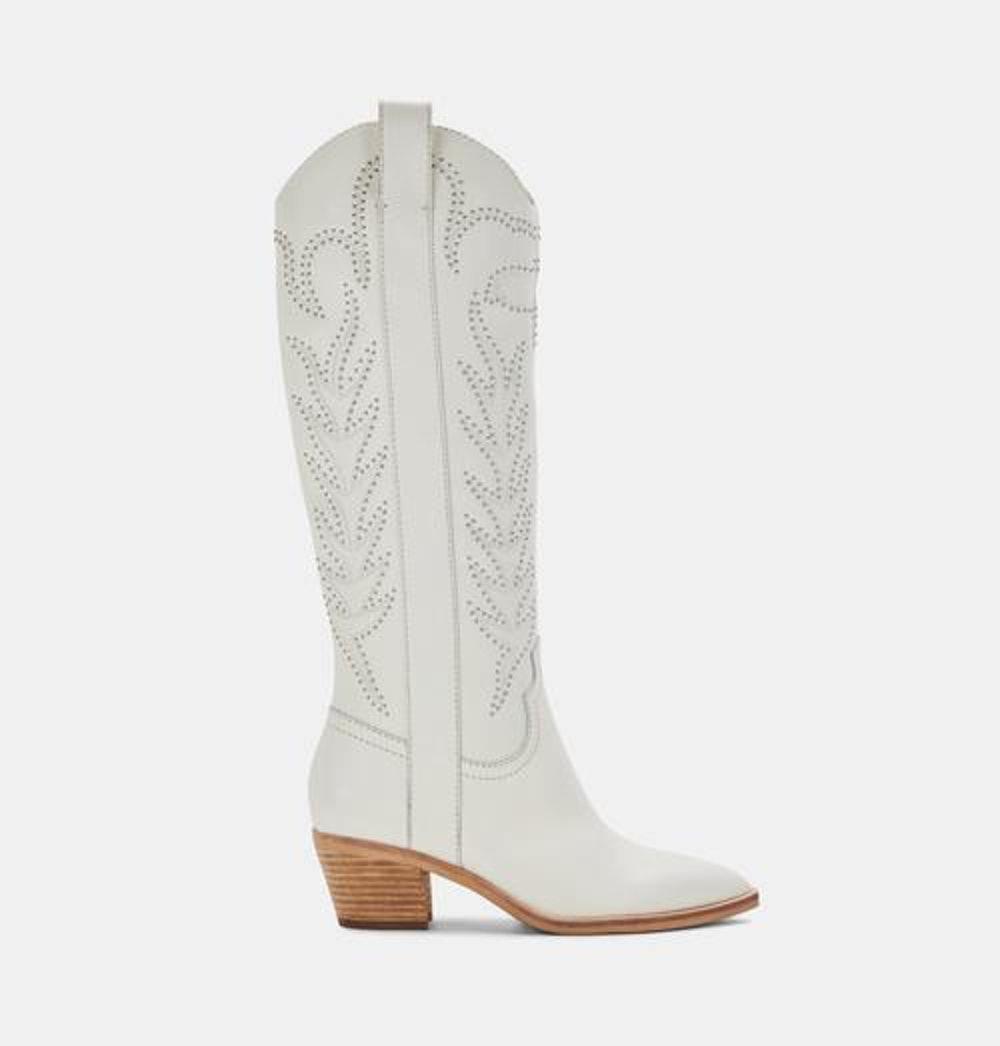 SOLEI STUD BOOTS IN OFF WHITE LEATHER