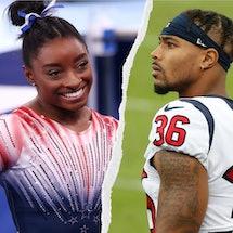 Who Is Simone Biles' Boyfriend, Jonathan Owens? Photos via Frederick Breedon/Getty Images Sport/Gett...
