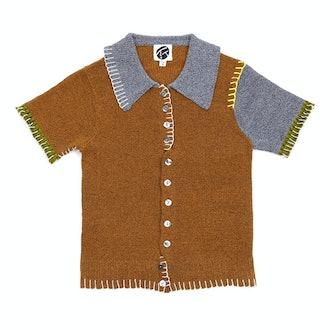 Yanyan Knits Short Sleeve Shirt in Ochre Tweed