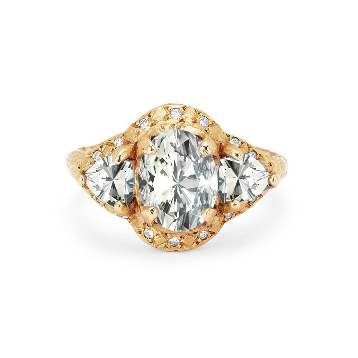 Queen Triple Goddess Trillion Diamond Setting with Sprinkled Halo from Logan Hollowell.