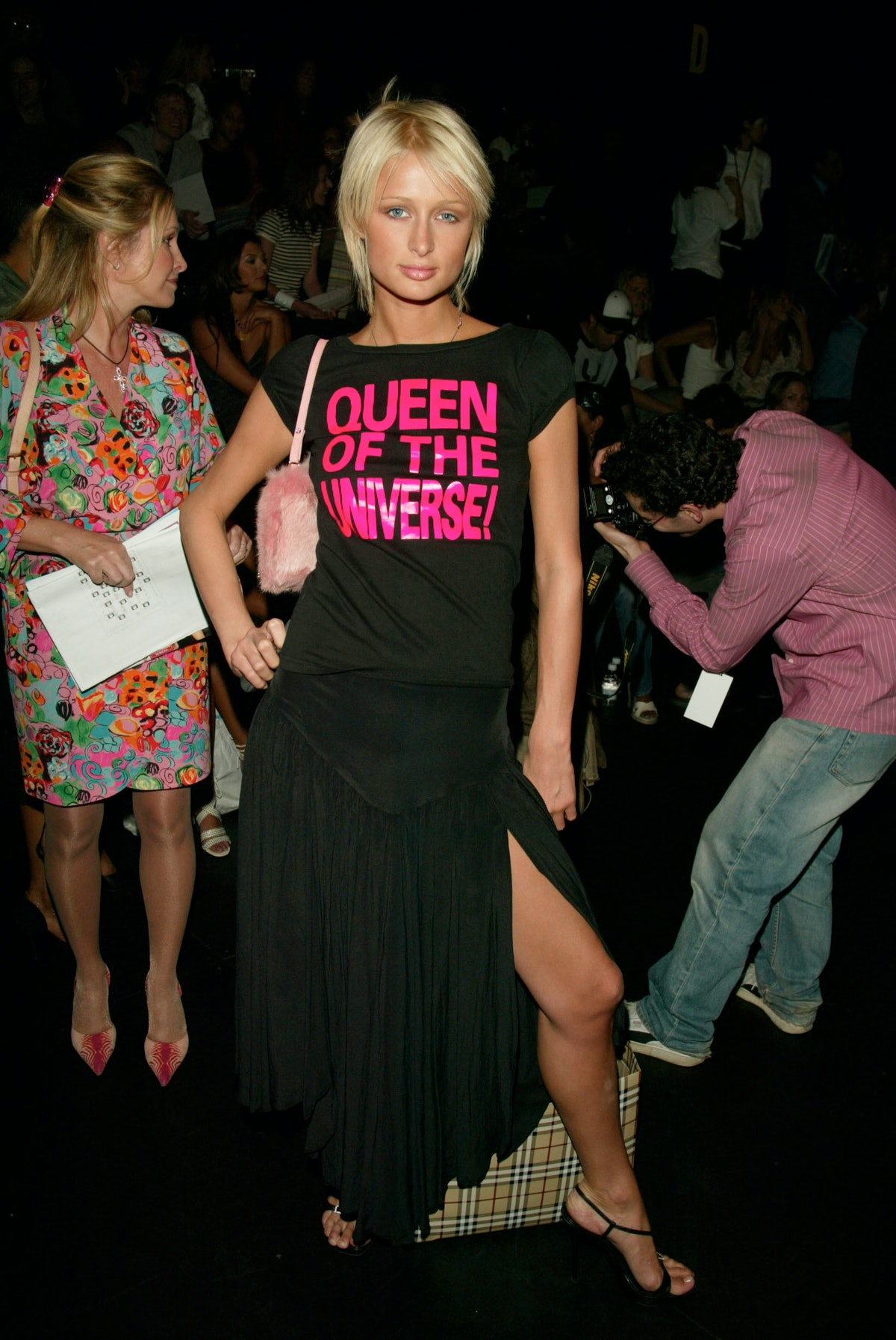 Paris wearing queen of the universe black tee