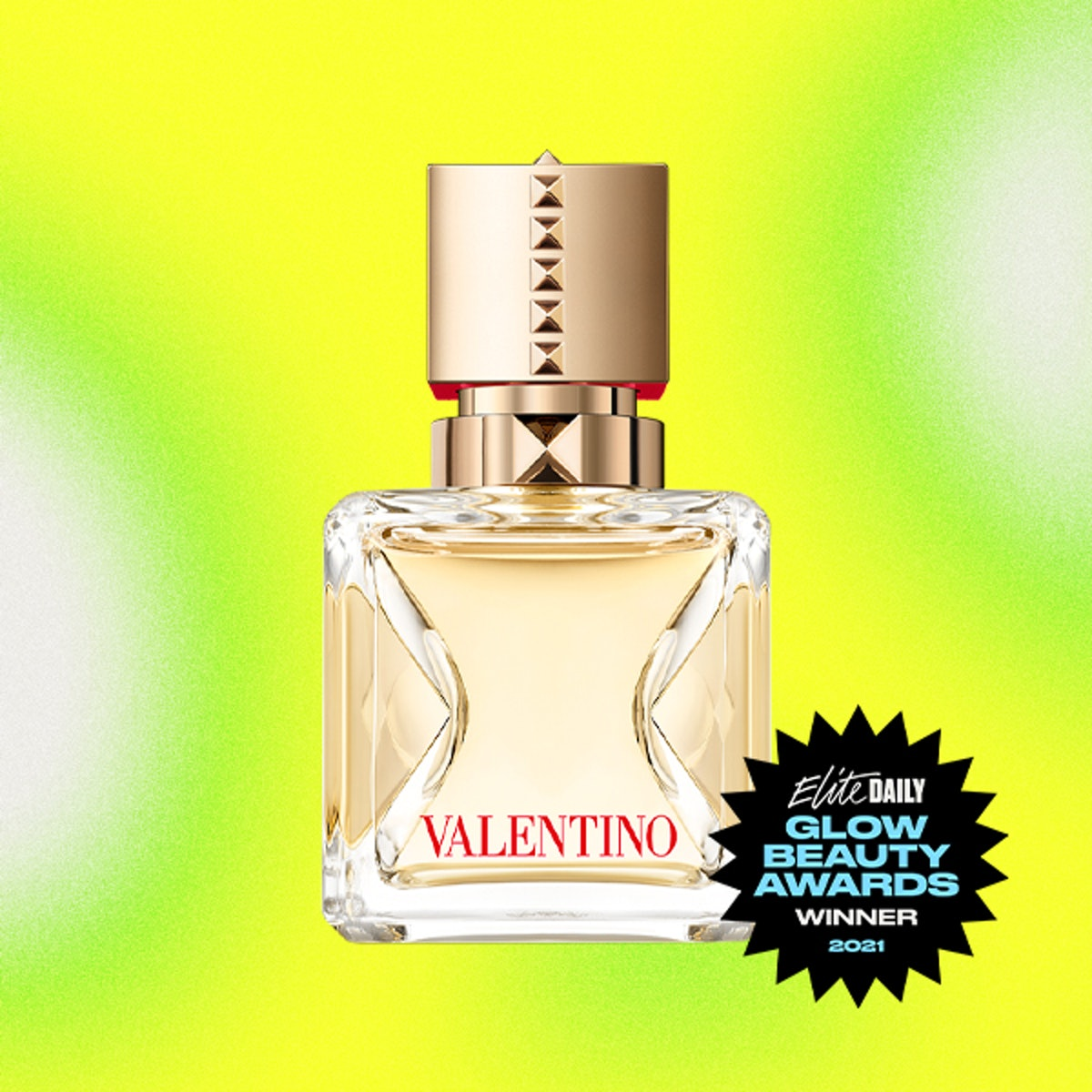 A product shot of Valentino's Voce Viva, the Best Fragrance winner of Elite Daily's 2021 Glow Beauty...