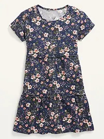 Tiered Printed Short-Sleeved Dress
