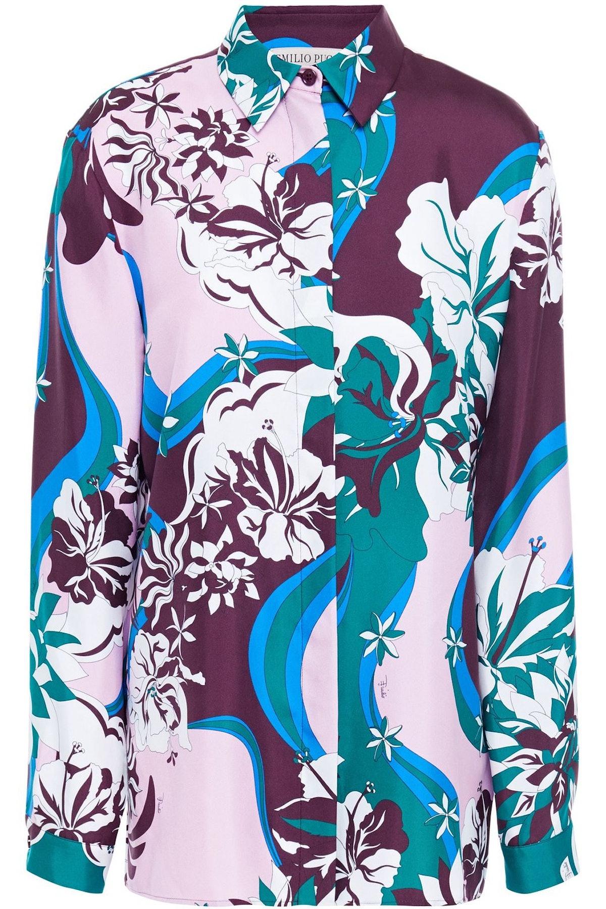Emilio Pucci Printed Silk-Twill Shirt The Outnet Sale