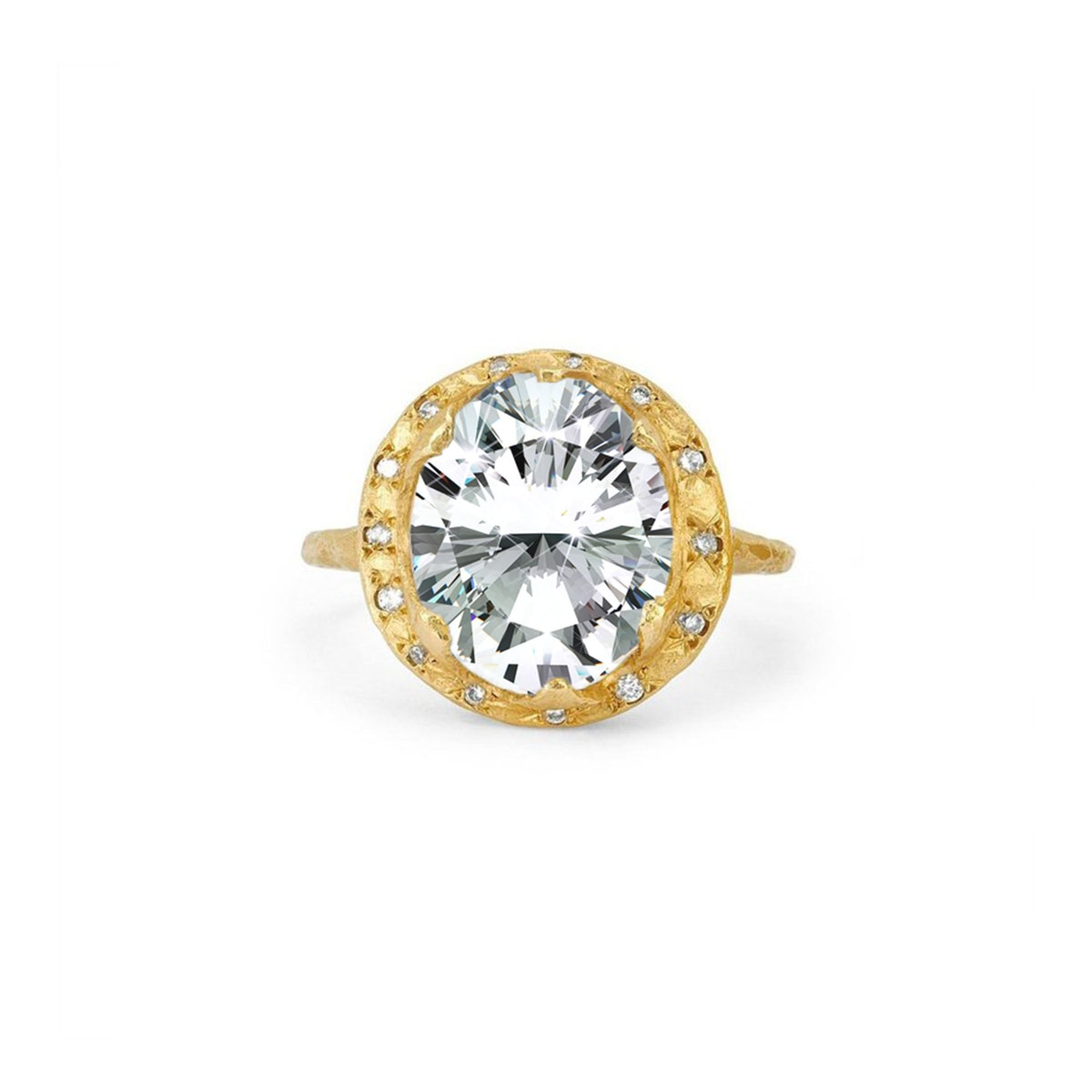 Baby Queen Oval Diamond Setting with Sprinkled Halo from Logan Hollowell.