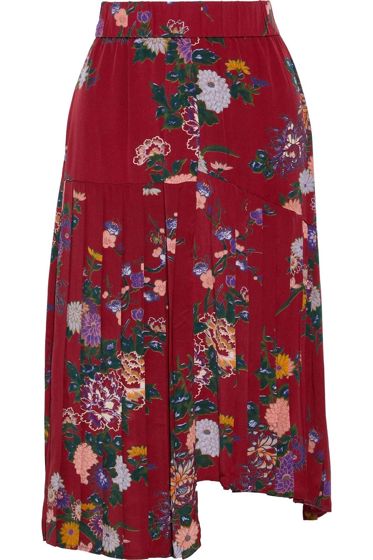 Isabel Marant Inaya Pleated Floral-Print Silk Skirt