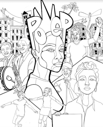Illustration of people with the words Po-Ep in the center