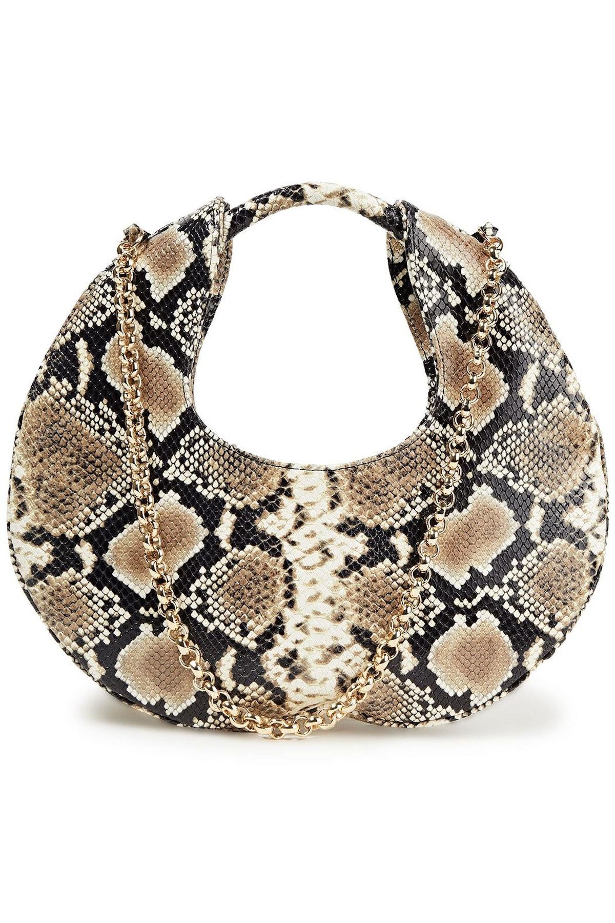 BY FAR Lune Snake-Effect Leather Shoulder Bag
