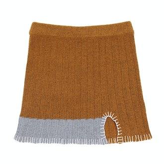 Yanyan Knits Tweedle Mini Skirt in Ochre Tweed