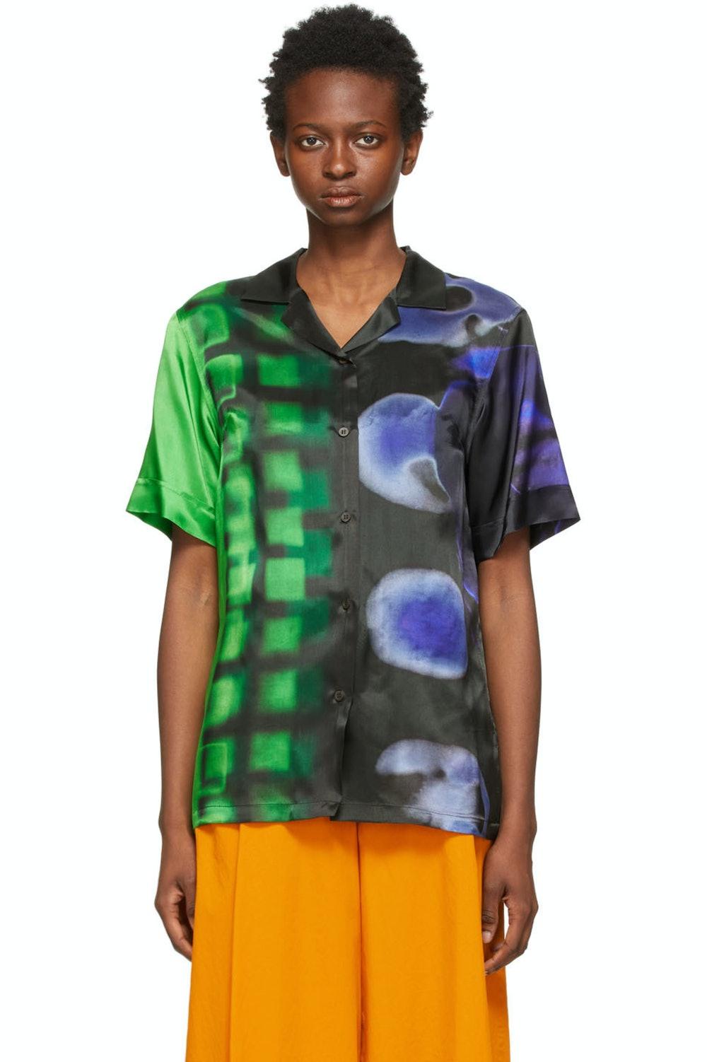 Black & Green Len Lye Edition Satin Printed Short Sleeve Shirt